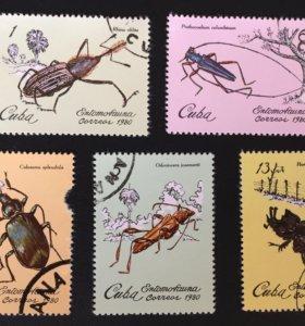 Марка 1980г. CUBA, насекомые, жуки