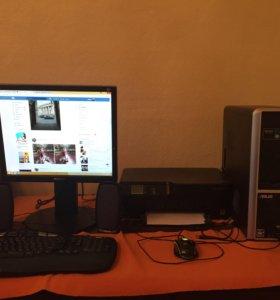 Компьютер, принтер, колонки, клавиатура, мышь