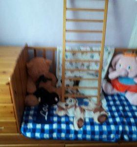детская кроватка ( трансформер) от 0 до 10лет