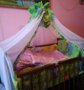 Кроватка + балдахин и матрас