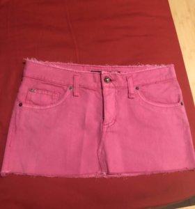 Яркая стильная розовая мини-юбка Miss Sixty