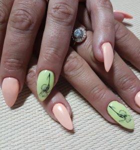 Наращивание ногтей и покрытие гель - лак