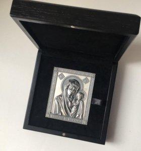 Икона Казанской Божьей матери 5*7 см серебряная