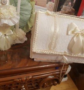 Свадебные свечки и сундучок для конвертов
