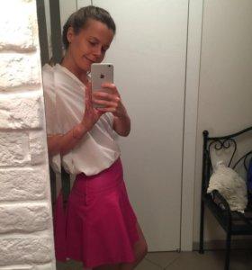 Новая ярко-розовая кожаная юбка 9A Concept