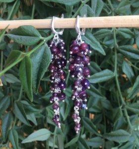 Серьги грозди из натуральных камней
