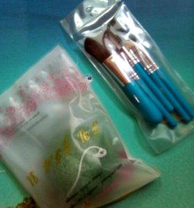 Кисти для макияжа набор 5шт+спонж кириака