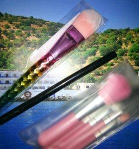 Кисти для макияжа 5шт+1шт+карандаш-подводка