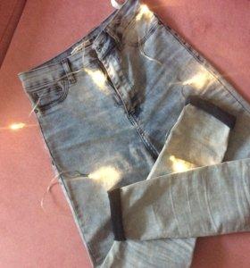джинсы скинни(завышенная талия)