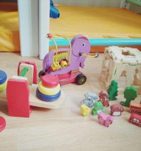 Игрушки деревянные Томик, лабиринт, весы, кубики