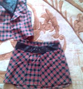 Костюм, жилетка и юбка