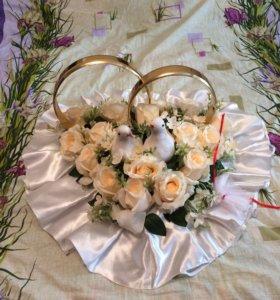 Свадебные кольца на машину + ленты