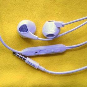Наушники с микрофоном hoco M2 белые и ярко-зеленые