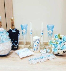 свадебный набор в нежно голубом цвете