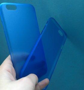 Чехол для iPhone 6/6s Прозрачно-синий пластиковый