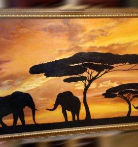 Картина маслом,пейзаж,природа,слоны,животные;