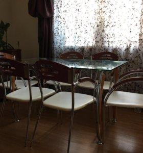 Стол обеденный стеклянный + 6стульев