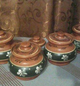 Горшочки глиняные для выпекания объемом 400 мл.