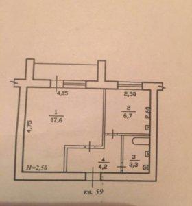 Квартира, 1 комната, 31.8 м²