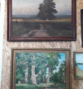 Коллекция больших старинных картин.