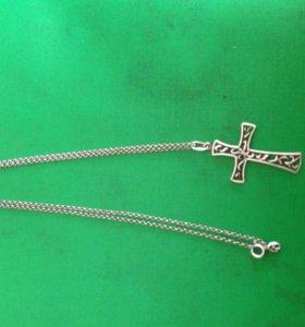 Цепочка и крестик серебрений
