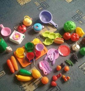Большей набор посудки и продуктов + игрушки для ку