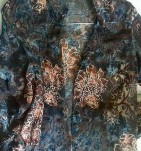Блуза марки G.Weber /50p в сине-коричневых тонах