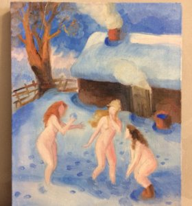 Баня девушки картина масло холст 49,2х39,3 см