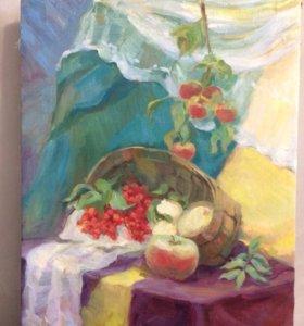 яблоки и рябины картина масло холст 62,5х48,6 см