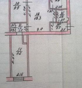 Квартира, 3 комнаты, 53.3 м²