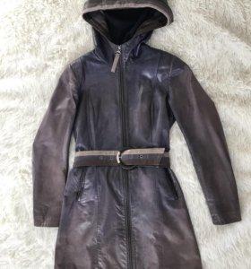 Куртка пальто кожаная р 44