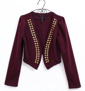 Итальянский легкий бордовый пиджак с клёпками