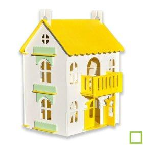 """Новый жёлтый кукольный домик """"Арина"""""""