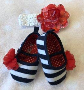 Туфельки 19 GeeJay baby на  малышку и повязка