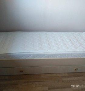 Кровать для девочки с ящиком для белья + матрас