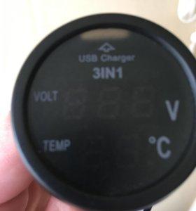Вольтметр, термометр, USB з/у