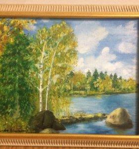 Осень.картина масло, багет . 30х39,5