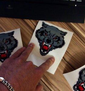 """Наклейка, на авто/мото. Stickers """"Wolf"""" ."""