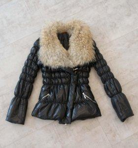 Куртка зимняя кожаная натуральный мех Baldinini