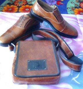 Кожаные ботинки и кожаная сумка fendi