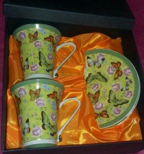 """Набор для чаяпития из 2 чайных пар """"Бабочки"""""""