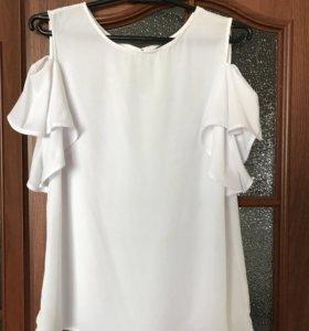 Белая блуза Mohito 46р шифон