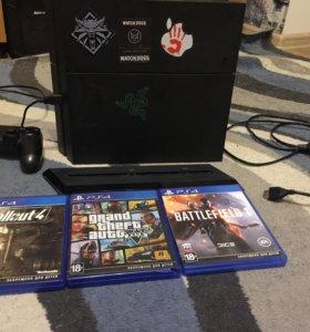 PlayStation 4 500 GB + игры и подставка