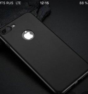 Матовый, чёрный чехол на айфон 6 плюс новый