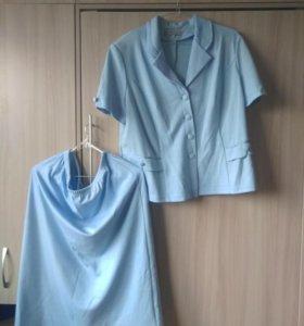 Летний костюм 54рр голубой трикотаж короткий рукав