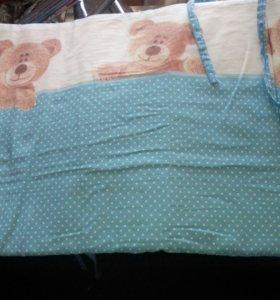 Кроватка+ матрас + постельное бельё + бортики