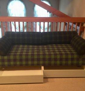 Диван-кровать с выдвижными ящиками