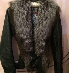 Куртка кож, ворот песец