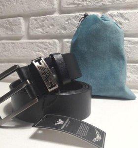 Ремень Кожаный Giorgio Armani Black Унисекс