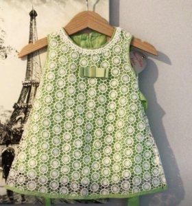 Платье детское НОВОЕ💚 с кружевом